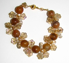 Julia Bristow Gemstone Beaded Bracelet :  julia bristow vintage handcrafted signed