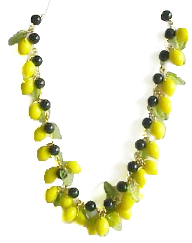 Lemons Fun Glass Fruit Necklace Made With Lemon And Leaf Charms Along Dark Green Aventurine Or New Jade Beads The Are 14mm
