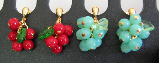 Julia Bristow Cherry Cluster Fruit Earrings :  cluster accessories earrings vintage