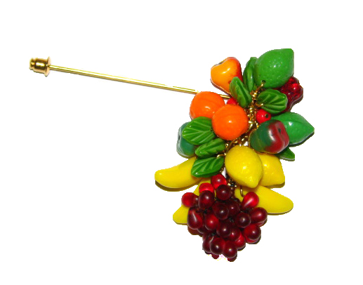 Julia Bristow Casual Fruit Charm Stick Pin :  apple clusters womens handcrafted