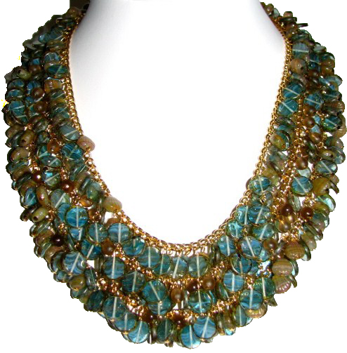 Julia Bristow Three strand heavily beaded necklace