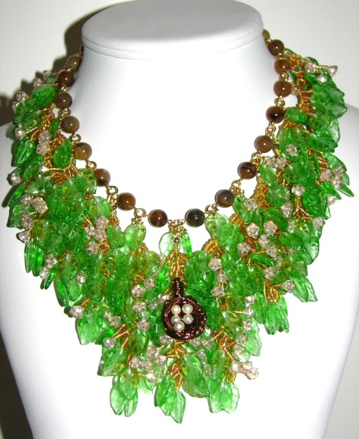 Julia Bristow Tree in Spring handwoven necklace