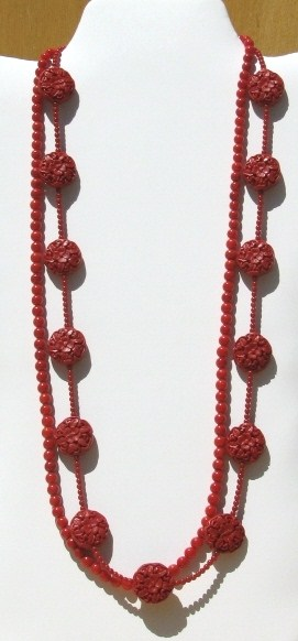 Julia Bristow long coral cinnabar red necklace :  accessories hand-crafted beaded artisan jewelry