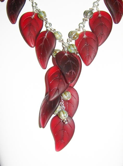 Julia Bristow Beaded Large Leaf Necklace :  oakhurst czech style costume
