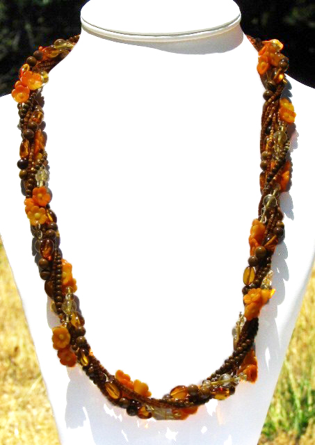 Julia Bristow Carved orange coral flower and amber Necklace/lei