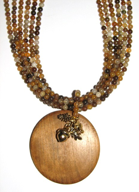 Julia Bristow wood agate necklace :  wood agate crafted beading quality