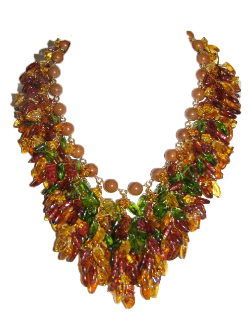 Autumn leaves necklace Julia Bristow :  juliabristowjewelry beadwork accessories etsy