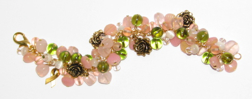 Julia Bristow Awareness Rose garden bracelet :  charity accessories pink ribbon vintage